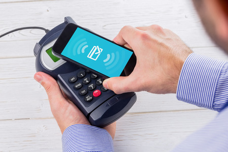 pin entry: Wifi connection against man using smartphone to express pay