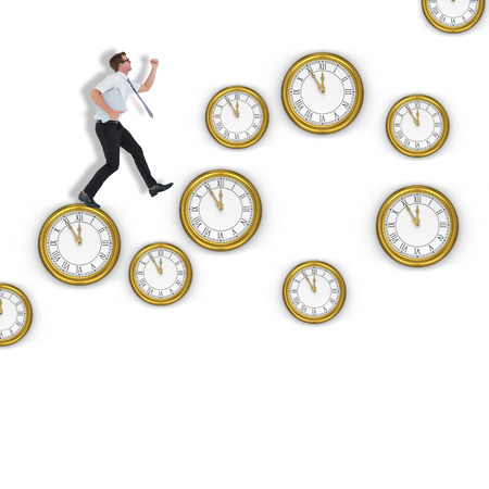 running late: Geeky businessman running late against clocks