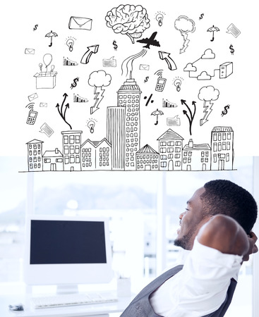 hands behind head: Cityscape with brainstorm against relaxed businessman with hands behind head Stock Photo