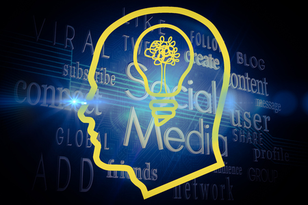 buzzwords: Light bulb in head against social media buzzwords on black background Stock Photo