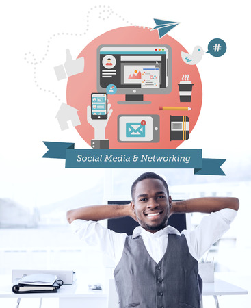 person computer: Social media graphics against relaxed businessman with hands behind head Stock Photo
