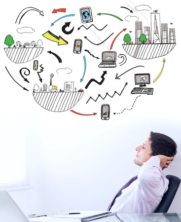 business graphics: Brainstorm graphic against telaxed businessman with hands behind head in office Stock Photo