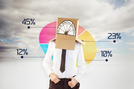 worse: Anonymous businessman with hands in waistband against pie chart in sky Stock Photo