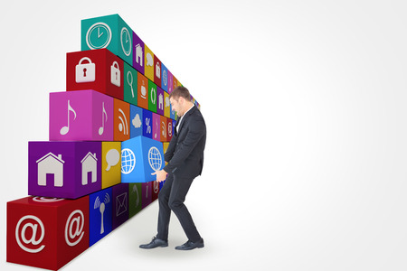 contorted: Businessman contorted with hands down against app box