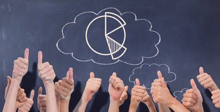 thought clouds: Group of hands giving thumbs up against thought clouds on chalkboard