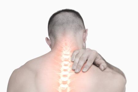 dolor: Compuesto de Digitaces del dolor de hombro destacado del hombre