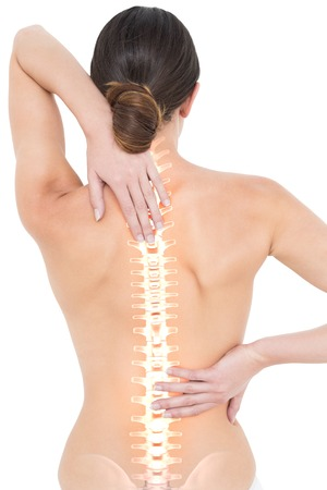 naked woman back: Digital composite of Highlighted spine of woman with back pain Stock Photo