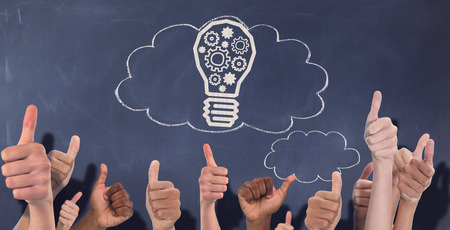 thought clouds: Hands showing thumbs up against thought clouds on chalkboard Stock Photo