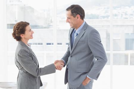 dando la mano: Empresaria dando la mano a un hombre de negocios en una oficina Foto de archivo