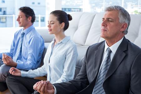 mujer meditando: La gente de negocios que practican yoga en la sala de estar Foto de archivo
