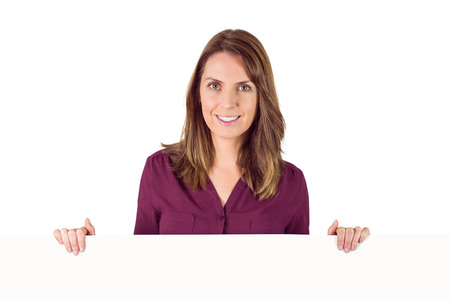 placeholder: woman holding placeholder in her hands on white background