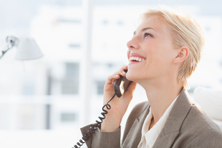 telephone call: Smiling businesswoman on the phone in her desk Stock Photo