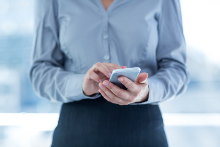 Businesswoman using her smartphone in an office Stock Photo