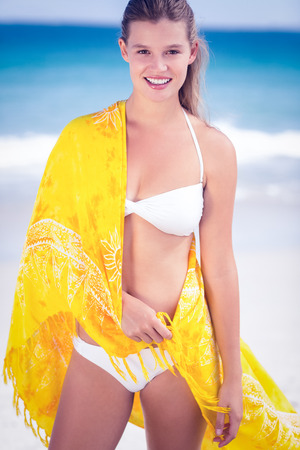 sarong: Portrait of a pretty girl wearing a sarong on the beach