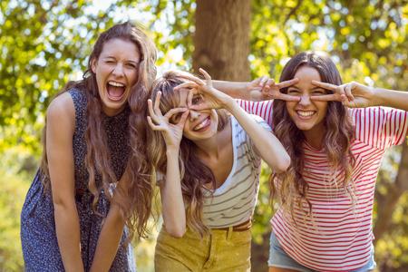 with friends: Amigos felices que toman una Autofoto en un d�a de verano Foto de archivo
