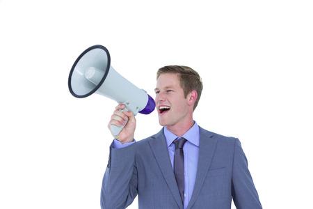 megafono: Apuesto hombre de negocios hablando a través de megáfono