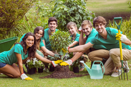 altruismo: Happy friends gardening for the community on a sunny day