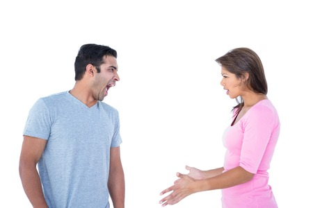 mid adult couple: Couple having an argument on white background