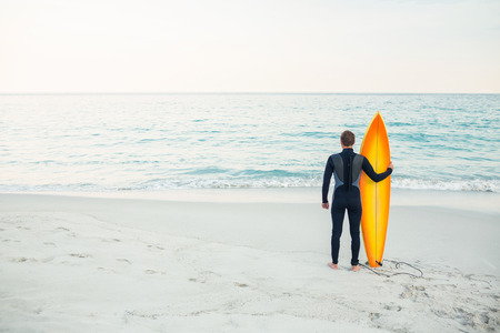 surfboard: Man in wetsuit with a surfboard on a sunny day at the beach