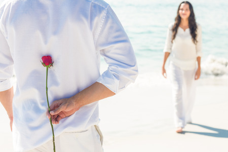couple amoureux: a man is offering a rose to his girlfriend on the beach