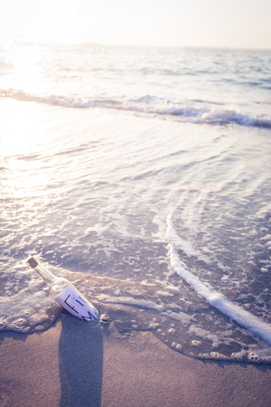 message in a bottle: Message in a bottle on the beach