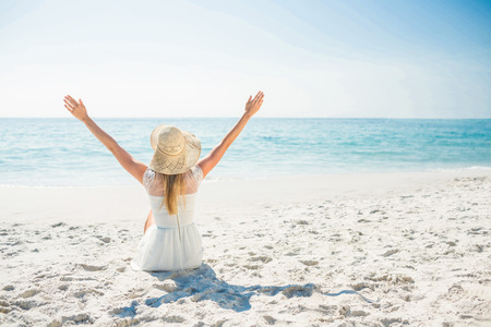 stylish woman: beautiful blonde woman on a sunny day at the beach