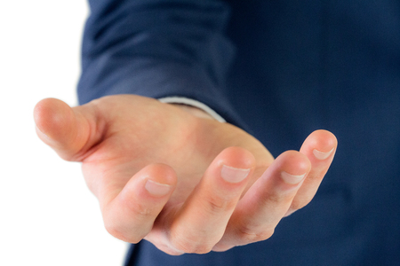 Close up view of businessman hand on white background Imagens