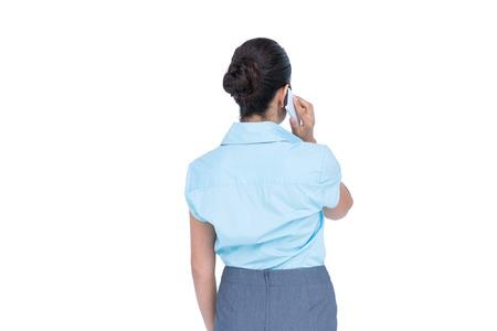 businesswoman standing: Businesswoman standing on white background