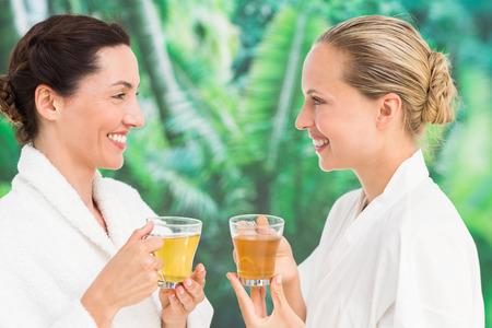 women friendship: Couple friends having a spa day at the health farm