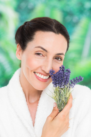 lavanda: a woman with lavanda on a spa day Stock Photo