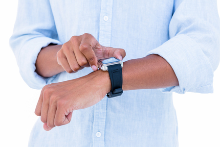 cut wrist: Close up of hipster using his smartwatch on white background Stock Photo