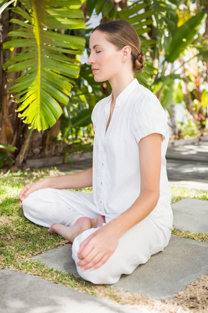 white backgroung: A young woman doing yoga over white backgroung