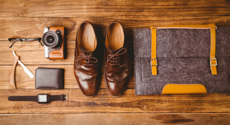 brogues: Differents objects using every days on wooden table