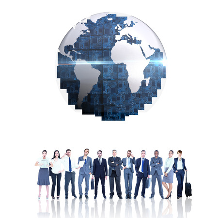 staff team: Business team against circuit board earth Stock Photo