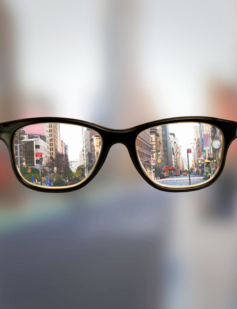 visions of america: Glasses against new york street Stock Photo