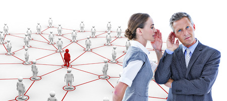 Gossiping business team against human figures with connecting lines