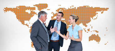 business disagreement: Business people having a disagreement against orange world map on white background