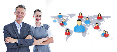 happy business team: happy business team  against view of communication network Stock Photo