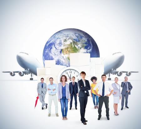 logistics: Business team against logistics graphic