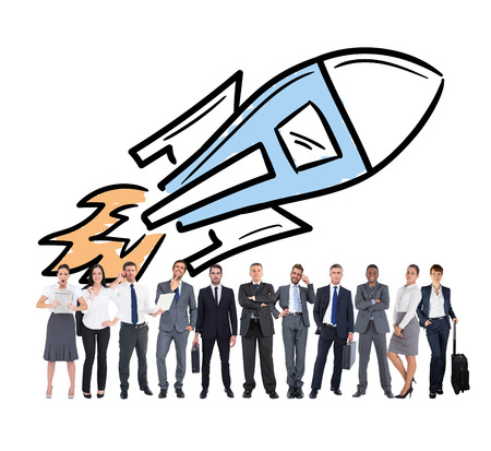 mid adult men: Business team against rocket