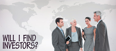 business globe: business people in office against grey background