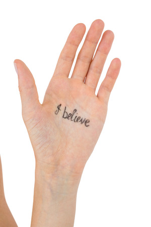 part of me: Hand showing the words I believe on white background