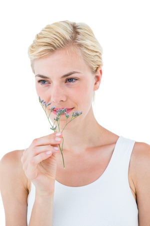 smelling: Gorgeous blonde woman smelling dried flower on white background