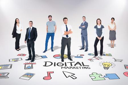 Business team against digital marketing