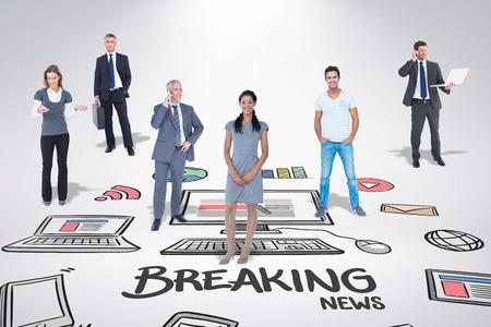 breaking news: Business team against breaking news doodle