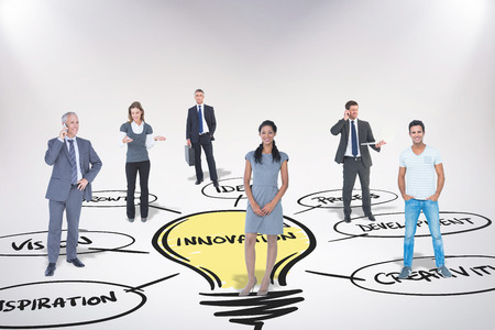 business innovation: Business team against innovation doodle