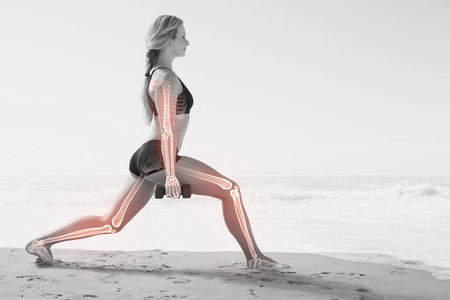 highlighted hair: Digital composite of Highlighted bones of exercising woman