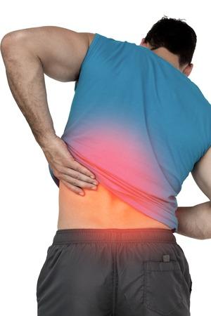 dolor espalda: Compuesto de Digitaces de Destacado dolor de espalda del hombre en forma Foto de archivo
