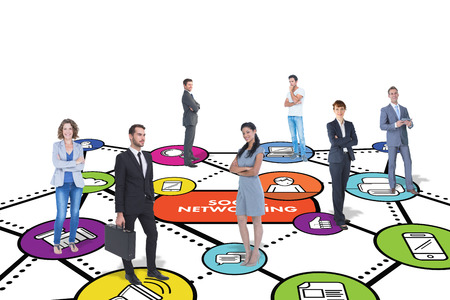 social networking: Business team against social networking concept Stock Photo