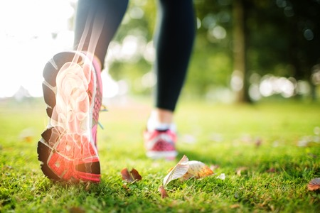 Digital composite of  Highlighted foot bones of jogging woman 스톡 콘텐츠
